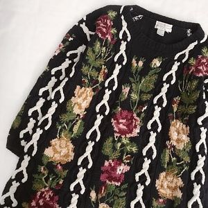 Roses Handknit Cable-Knit Sweater